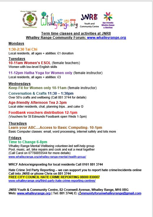 Classes, Courses and Activities - whalleyrange org